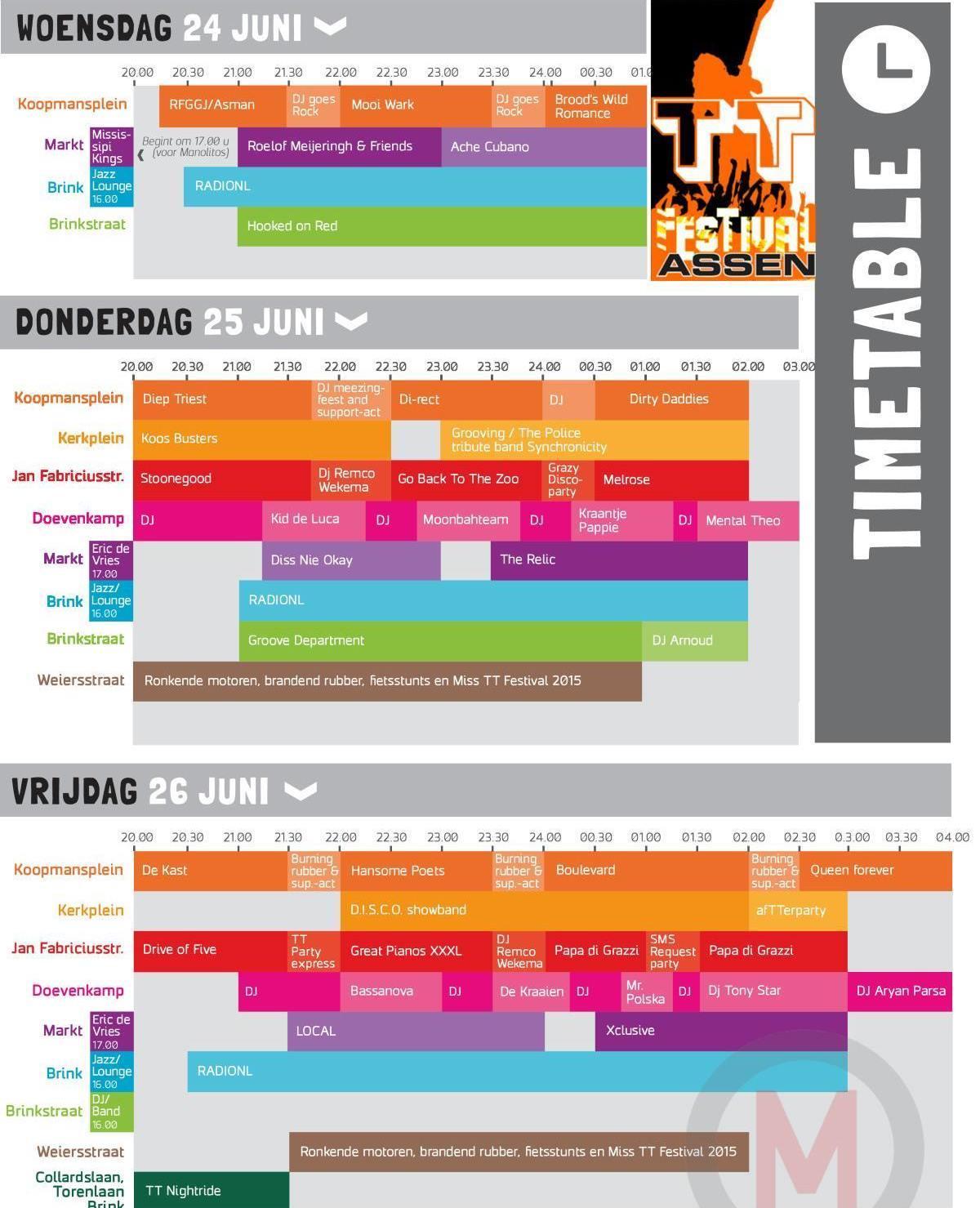 Overzicht programma TT Festival 2015 Assen: muziek en ...